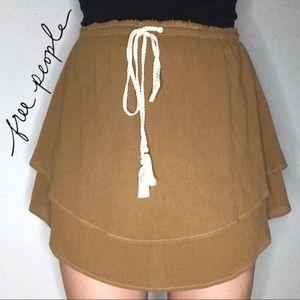 Free People Brown Flowy Tiered Circle Skirt